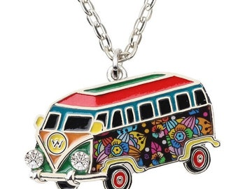 Multi-Colored Enamel Pendant with FREE Chain - VW Hippy Bus Charm - Clip-On - Ready to Wear