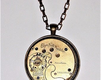 Steampunk Vintage Elgin Pocket Watch Movement OOAK