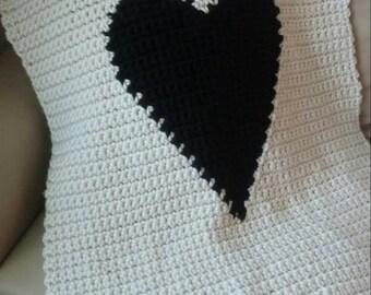Modern Heart Baby Blanket Pattern, Crochet