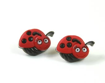 Ladybug earrings, Ladybug studs, Bug earrings, Bug studs, Black and red studs