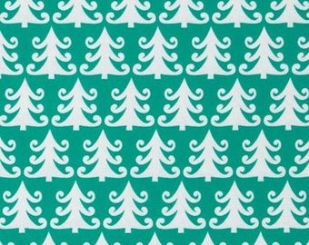 Fabric Christmas patchwork trees Turquoise Nordic holiday Miller