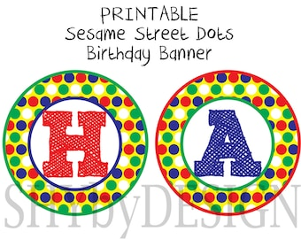 PRINTABLE Sesame Street Dots Birthday Banner