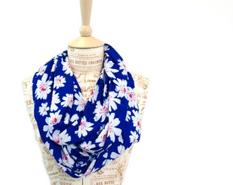 Floral Scarf, Floral Infinity Scarf, Blue Scarf, Printed Scarves, Mother Gift For Her, Spring Infinity Scarf, Boho Infinity Scarf