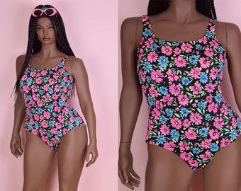 90s Daisy Floral Print Swimsuit/ US 14/ 1990s
