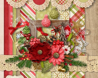 NEW - Digital Scrapbooking Kit - Holiday Wishes  - Christmas Scrapbook Kit - 10 Paper - 35 Plus Elements - Papers 12 x 12 Inches - 4.75