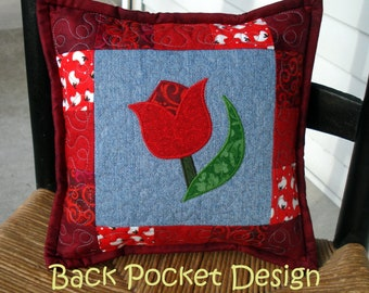 """Red Tulip Quilted Denim 10"""" Toss Pillow made with recycled denim jeans"""
