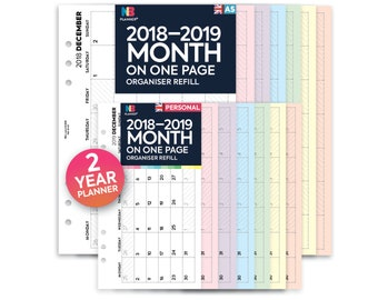 PRINTED 2018–2019 Month on one page 2 year planner organiser Insert A5 / Personal Filofax A5 Kikki.K Large Compatible Refill Coloured WO1P