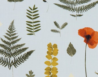 Orange Green Upholstery Fabric - Gold Botanical Fabric for Furniture - Modern Floral Upholstery Fabric - Orange Gold Green Pillows