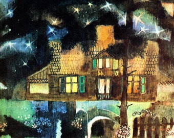"Vintage Fairy Tale Illustration ""Starlight Cottage"" Night Sky Stars Moon - Russian Fairytale"