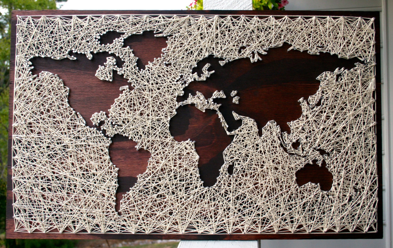 World map wall art string art map world map art map wood zoom gumiabroncs Gallery
