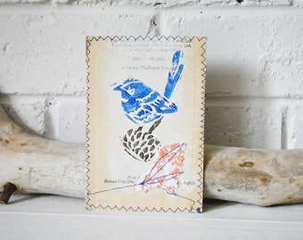 Mixed Media Art Print - Splendid Blue Wren on Banksia - Australian Bird Print on Vintage book - Upcycled wall art - pg 200