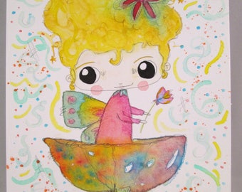 Original Mixed Media Watercolor Flower Fairy Girl Fairies by Ceville Designs