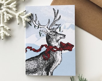 Christmas Card Rudolph The Red Scarfed Reindeer - Christmas, Winter Wonderland, Winter Landscape, Mountain, Snow, Wood, Birds, Blue, Red