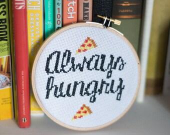 Always Hungry cross stitch pattern (w/ pizzas!)