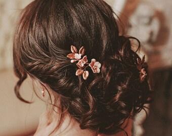 Peach hair pins, romantic floral hair pins, bridal hair pin set, bohemian hair accessories
