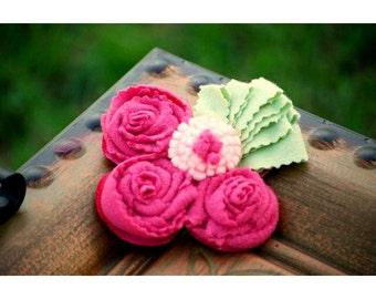 Fuchsia Rosettes Mint Brooch, Headband, Hair Clip Magenta Hot Pink. M2M Matilda Jane / persnickety. Baby / Women Birthday Gift. Bride Bridal