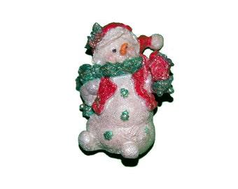 Glitter Snowman With Bird House Tree Ornament