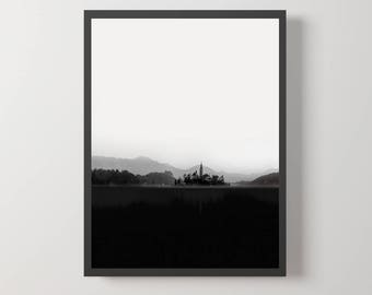 Abstract Landscape, Black and White, Wall Art, Mountains, Scandinavian Print, Castle, Minimalist, Printable, Gifts, Wall Decor, Poster