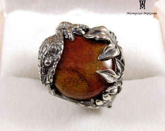 LIZARD Ring Sterling Silver 925 handmade statement jewelery with Agat gemstone ,