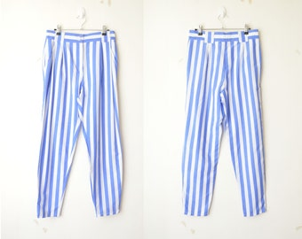 blue and white striped high rise cigarette tapered leg summer pants 90s // M
