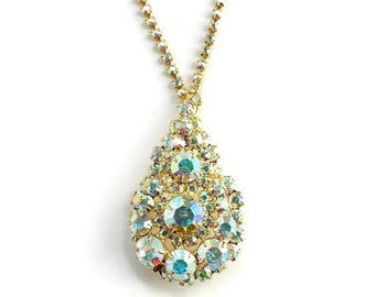 Juliana Tear Drop Shape Pendant Necklace Brooch Aurora Borealis Rhinestone DeLizza Elster HTF