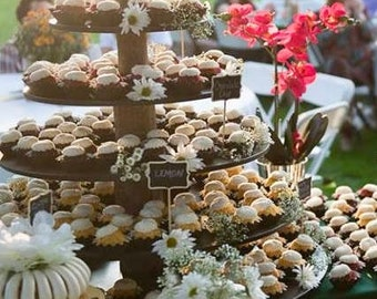 Rustic Cupcake Stand Convertible 4/5 Tier (Tower Holder) Capacity is 50/120 Cupcakes or 100/240 Donuts