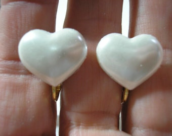 Play Earring - Clip - Heart - White - 3/4""