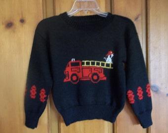 Fire Truck Sweater, Custom Design, Handmade