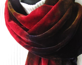Velvet Scarf in Oxblood Red Bronze and Navy  Women Luxurious Winter Fashion Accessory for Her Unique ScarfFall and Winter Fashion Accessory
