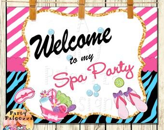 Printable Birthday spa party sign/ zebra/sleep over