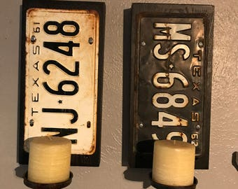 Rustic Old license plate sconces