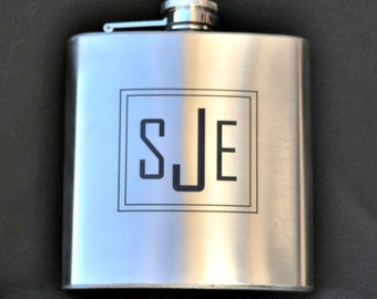 Monogrammed 6oz flask, Personalized for Wedding, Groomsman Flask, Groom, Best Man, laser engraved by Jackglass on Etsy