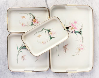 Floral Tray Set / Japanese Laquerware Tray Set / Laquer Tray / Vanity Tray / Serving Tray / Vintage Serving Tray / Floral Tray
