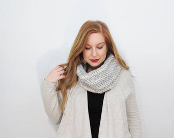 gray and white scarf. glitter infinity scarf. ombre loop scarf. womens circle scarf. crochet eternity scarf. gifts for her. gifts under 50.