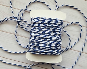 10 Yards Chunky Navy Baker's Twine, Navy and White Thick Twine, 100% Cotton