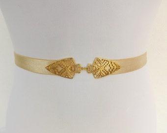 Champagne elastic waist belt. Gold filigree buckle. Bridal/ bridesmaid wedding belt. Nude belt. Stretch belt. Dress belt. Wedding belt.