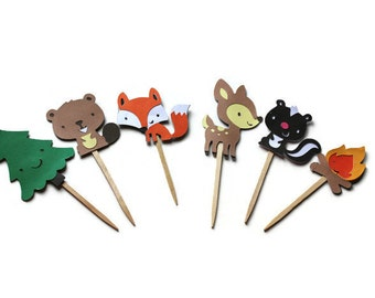 Cupcake Toppers, Woodland Toppers, Woodland Birthday, Baby Shower Decor, Deer Cupcake Topper, Woodland Theme, Boy Baby Shower
