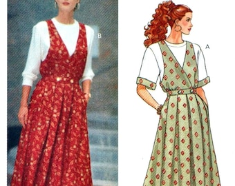 Butterick 5693 Misses' Mock Wrap-Front Jumper & Top - Vintage PATTERN - Sizes 12, 14, 16