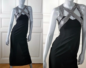 Vintage Disco Dress, Black Evening Dress w Silver Sequin Crisscross Straps: Size 4 (US), 8 (UK)