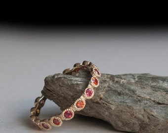 Padparadscha Sapphire alternating eternity Gold Ring