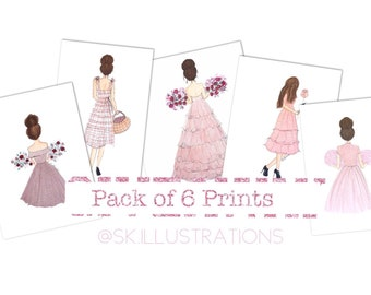 Pack of 6 Fashion Illustrations