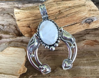 Rainbow Moonstone Naja Pendent/ Sterling silver/ Southwestern Jewelry