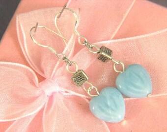 Earrings Amazonite 12mm Heart 925 ESAZ1874