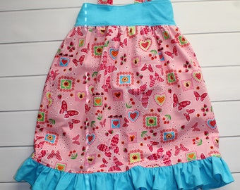 Toddler Sundress - Summer Hattie - Ruffle Dress - Blue Dress - Pink Dress - Girls Jumper - Toddler Tunic - Ready to ship - One of A Kind