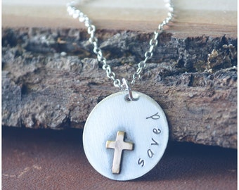 Silver Cross Necklace - Saved By Grace Necklace - Saved Necklace - Baptism Jewelry - Confirmation Gift - Gift for Graduation