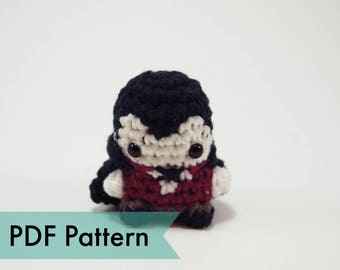 "PDF Pattern for Crocheted Vampire Dracula Amigurumi Kawaii Keychain Miniature Doll ""Pod People"""