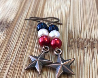 Rustic Patriotic Star Earrings