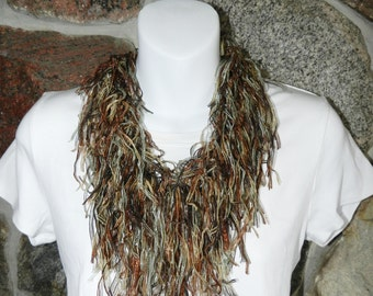 Travel scarf necklace women Bohemian summer Boho, Infinity loop cirxle scarves for women ladies, Lightweight with fringe, Wear as a necklace