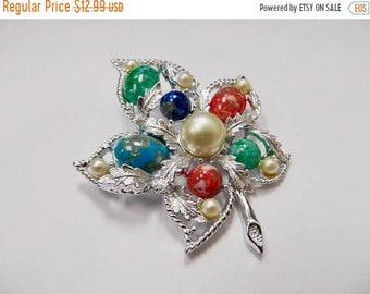 ON SALE SARAH Coventry Multi Colored Leaf Pin Item K # 186