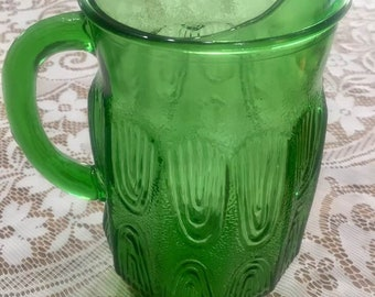 Vintage Green Anchor Hocking Glass Pitcher